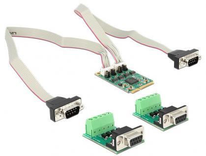 MiniPCI Express I/O PCIe full size RS-422/485 2x DB9 Stecker, 600W Überspannungsschutz, Delock® [95245]