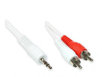 Stereo Verbindung 3, 5 Klinken Stecker an 2x Cinch Stecker, weiß, 0, 5m, Good Connections®
