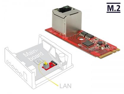 Konverter M.2 Key A+E Stecker an 1x RJ45 Gigabit LAN Port vertikal, Delock® [62949]