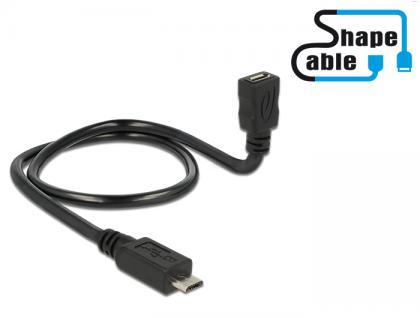 Kabel USB 2.0 Micro-B Stecker an USB 2.0 Micro-B Buchse OTG ShapeCable 0, 50m, Delock® [83925]