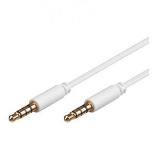 Klinkenkabel, 3, 5mm Stecker an Stecker, 4-polig, vergoldete Kontakte, weiß, 0, 5m, Good Connections®