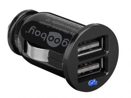 USB Auto-/KFZ-Ladegerät, 2, 1 A, 2 USB Anschlüsse, schwarz