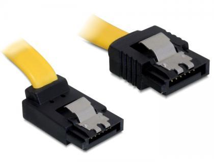 Kabel SATA 6 Gb/s Stecker gerade an SATA Stecker oben gewinkelt 20 cm gelb Metall, Delock® [82799]
