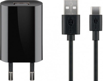 USB-Ladegerät, 1 Port, 1A, flache Bauform, inkl. Anschlusskabel USB Stecker A an USB-C™ Stecker, schwarz, 1m