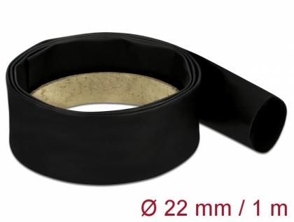 Schrumpfschlauch 1 m x 22 mm schwarz, Delock® [18979]