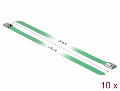 Edelstahlkabelbinder L 300 x B 7, 9 mm grün 10 Stück, Delock® [18806]