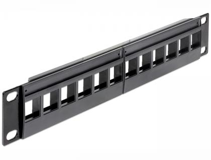 Patchpanel Keystone, 10' 12- Port, schwarz, Delock® [43259]