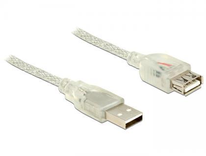 Verlängerungskabel USB 2.0 A Stecker an USB 2.0 A Buchse, transparent, 5m, Delock® [83885]