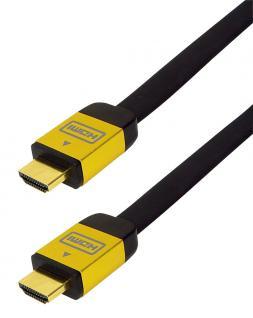 kabelmeister® High-Speed-HDMI®-Flachkabel mit Ethernet, goldfarbene Metallstecker, vergoldete Kontakte, 5m