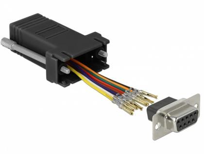 Adapter Sub-D 9 Pin Buchse an RJ45 Buchse, Montagesatz, schwarz, Delock® [66165]