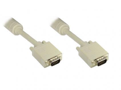 Anschlusskabel S-VGA Stecker an Stecker, grau, 5m, Good Connections®