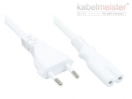 kabelmeister® Euro-Netzkabel Euro-Stecker Typ C (gerade) an C7/Euro 8 Buchse (gerade), weiß, 0, 75 mm², 0, 75 m