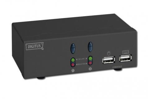 USB-KVM Umschalter, 1 User 2 Rechner, Desktop, mit Audiounterstützung, ohne Kabelsätze Maus-Klickfunktion Digitus® [DC-11403]