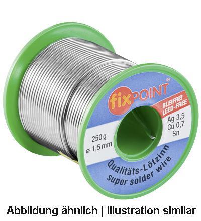 Lötzinn 100g Rolle, Ø 1mm, Material: 95, 5% Zinn, 3, 8% Silber, 0, 7% Kupfer