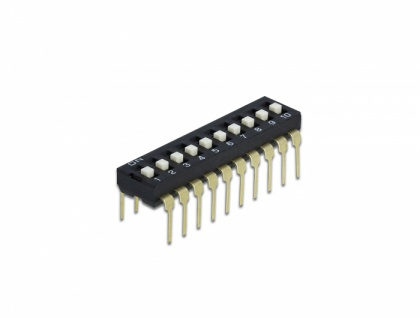 DIP-Schiebeschalter 10-stellig 2, 54 mm Rastermaß THT vertikal schwarz 10 Stück, Delock® [66118]