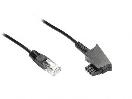 kabelmeister® TAE Anschlußkabel DSL / VDSL, TAE-F Stecker an Westernstecker 8P2C, 3m, schwarz