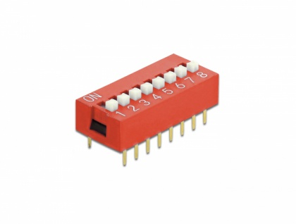 DIP-Schiebeschalter 8-stellig 2, 54 mm Rastermaß THT vertikal rot 5 Stück, Delock® [66035]