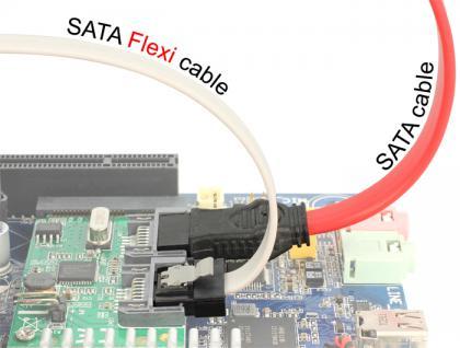 Kabel SATA FLEXI 6 Gb/s 30 cm weiß Metall, Delock® [83831]