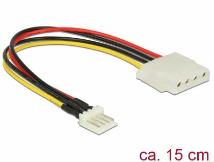 Kabel Power Floppy 4 Pin Stecker an Molex 4 Pin Buchse, 0, 15 m, Delock® [85456]