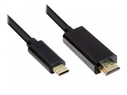 Adapterkabel USB-C™ Stecker an HDMI 2.0 Stecker, 4K2K / UHD 60Hz, CU, schwarz, 3m, Good Connections®