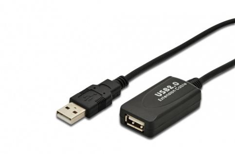 USB 2.0 Repeater Kabel, USB A male / A female Länge 5m Digitus® [DA-70130-4]