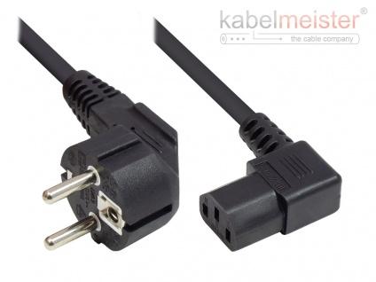 kabelmeister® Netzkabel Schutzkontakt-Stecker Typ E+F (CEE 7/7, gewinkelt) an C13 (rechts gewinkelt), schwarz, 1, 00 mm², 3 m