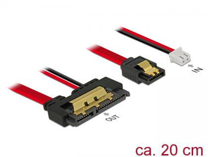 Kabel SATA 6 Gb/s 7 Pin Buchse + 2 Pin Strom Buchse an SATA 22 Pin Buchse gerade (5V), Metall 0, 2m, Delock® [85240]
