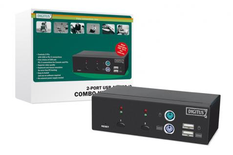 Digitus® Combo-KVM Switch 1User, 2 PCs (je PS/2 oder USB)