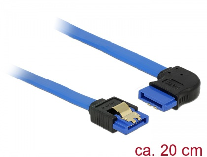 Kabel SATA 6 Gb/s Buchse gerade an SATA Buchse rechts gewinkelt, mit Goldclips, blau, 0, 2m, Delock® [84989]