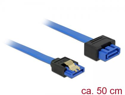 Verlängerungskabel SATA 6 Gb/s Buchse gerade an SATA Stecker mit Einrastfunktion gerade, blau, 0, 5m, Delock® [84973]