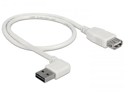 Verlängerungskabel EASY-USB 2.0 Typ-A Stecker gewinkelt links / rechts an USB 2.0 Typ-A Buchse, weiß, 0, 5 m, Delock® [85178]