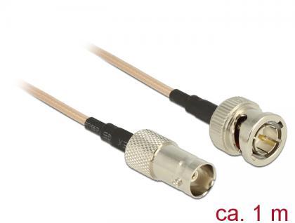 Antennenkabel BNC Stecker an BNC Buchse, RG-179, braun transparent, 1m, Delock® [12490]