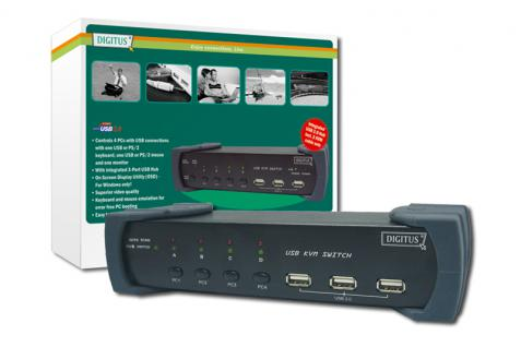 Digitus® KVM Switch 1 User (PS/2 & USB), 4 PCs (USB)