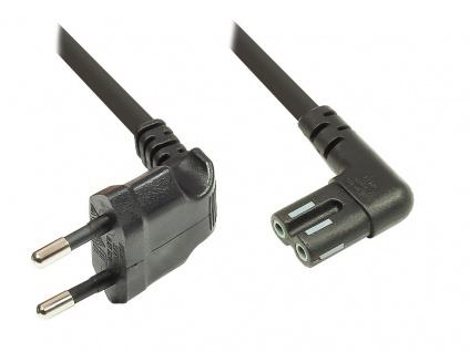 kabelmeister® Euro-Netzkabel, Netzstecker an Euro 8 Buchse, beidseitig 90____deg; abgewinkelt, für Sonos® Play 1 und 5, schwarz, 5m
