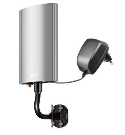 Aktive DVB-T-Außenantenne inkl. Netzteil für VHF/UHF/FM - Empfangsbereich; 20 dB; DVB-T/DVB-T2