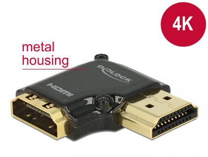 Adapter High Speed HDMI mit Ethernet - HDMI-A Buchse an HDMI-A Stecker 4K 90____deg; gewinkelt rechts schwarz, Delock® [65661]