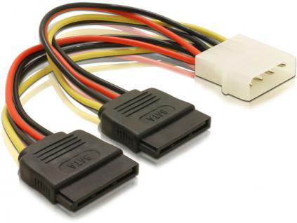 Stromkabel von 1 ATX Netzteil auf 2 SATA Laufwerke, Delock® [60102]