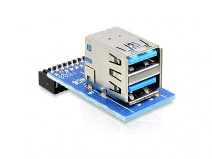 USB Pinheader Buchse an 2x USB 3.0 Buchse oben, übereinander, Delock® [41865]