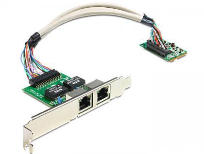 MiniPCIe I/O PCIe full size 2 x Gigabit LAN, Delock® [95237]