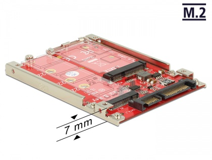 2.5' Konverter SATA 22 Pin an M.2 / mSATA mit Rahmen 7 mm, Delock® [62859]