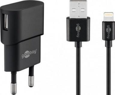 USB-Ladegerät, 1 Port, 1A, inkl. Anschlusskabel Apple Lightning Connector an USB A Stecker, schwarz, 1m