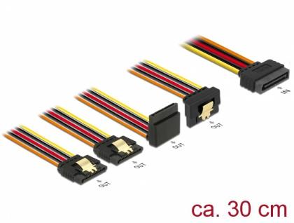 Kabel SATA 15 Pin Strom Stecker mit Einrastfunktion an SATA 15 Pin Strom Buchse 2 x gerade / 1 x unten / 1 x oben 0, 3 m, Delock® [60148]
