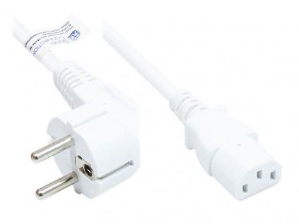 Netzkabel Schutzkontakt-Stecker Typ E+F (CEE 7/7, gewinkelt) an C13 (gerade), weiß, 1, 00 mm², 5 m, Good Connections®