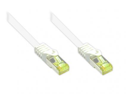 kabelmeister® RJ45 Patchkabel mit Cat. 7 Rohkabel und Rastnasenschutz (RNS®), S/FTP, PiMF, halogenfrei, 500MHz, OFC, weiß, 2m