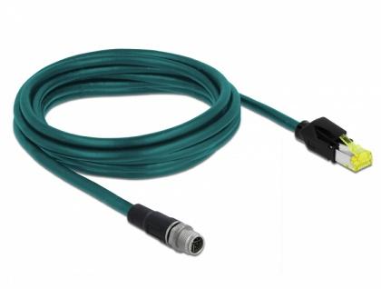 Netzwerkkabel M12 8 Pin X-kodiert an RJ45 Hirose Stecker TPU, wasserblau, 3 m, Delock® [85431]