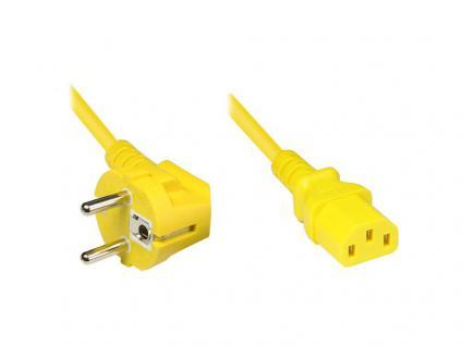 Netzkabel Schutzkontakt-Stecker an Kaltgeräte-Buchse, Typ F an C13, 5m, gelb, Good Connections®