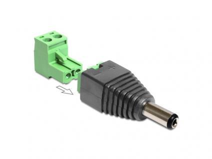 Adapter DC 2, 1 x 5, 5 mm Stecker an Terminalblock 2 Pin 2-teilig, Delock® [65422]