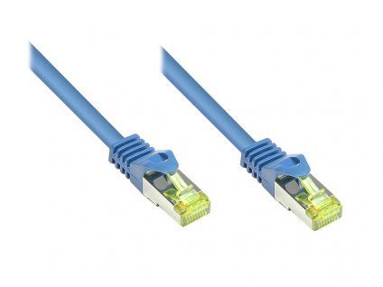 RJ45 Patchkabel mit Cat. 7 Rohkabel und Rastnasenschutz (RNS®), S/FTP, PiMF, halogenfrei, 500MHz, OFC, blau, 30m, Good Connections®