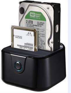Dockingstation DUAL SATA HDD, Easy Plug and Play und USB 3.0, schwarz