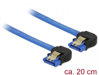 Kabel SATA 6 Gb/s Buchse unten gewinkelt an SATA Buchse unten gewinkelt, mit Goldclips, blau, 0, 2m, Delock® [85095]